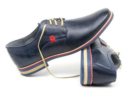 71fc6c18aa6d80 Eleganckie buty męskie granat skóra naturalna JOKER od dobrebutypl ...